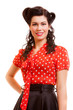 Retro woman with pinup makeup and hairstyle. Vintage.