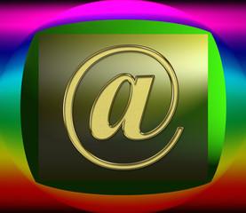 bouton rectangulaire arobas, at, mail, coloré