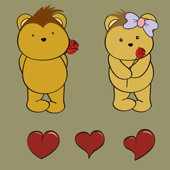 porcupine love set cartoon rose vector