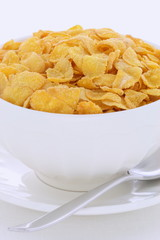 Healthy corn flakes breakfast