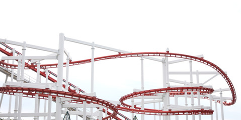 Roller of coaster on white background.