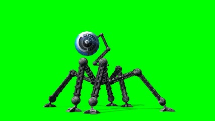Alien Hexapot Drohne walks - green screen
