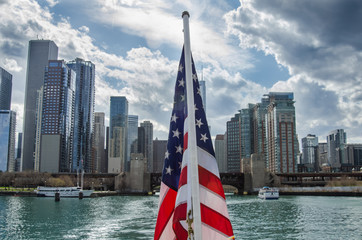 American Flag in front of Chicago Skyline