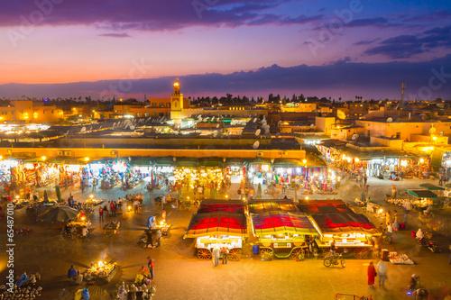 Deurstickers Marokko Jamaa el Fna, Marrakesh, Morocco.