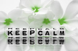 Keep calm with green flowers poster