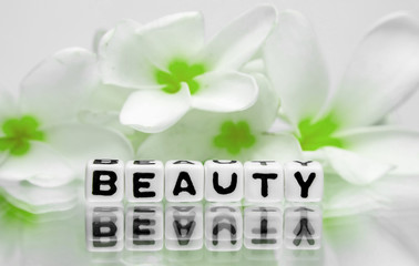 Beauty concept with green flowers