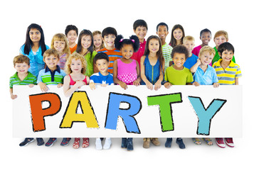 Diverse Cheerful Children Holding the Word Party