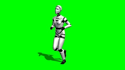 Human I-Robot runs - green screen