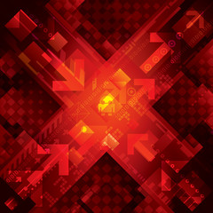 High tech abstract red technical background.