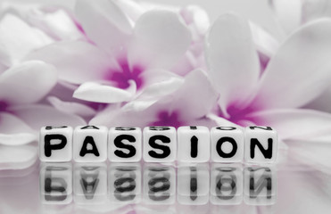 Passion text with pink flowers