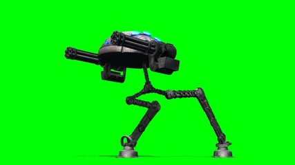 mech war robot walks - green screen
