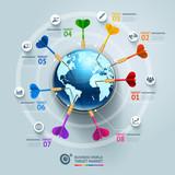 Business world target marketing dart idea.