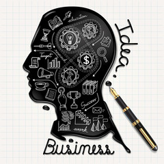 Business doodles icons. Ink shaped people head on paper.