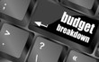 budget breakdown words on computer pc keyboard