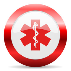 emergency glossy web icon
