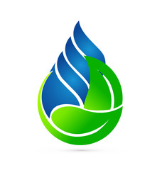 Water drop green leafs. Ecology concept logo vector