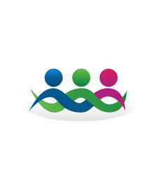 Teamwork friends hugging logo concept vector