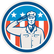 American Soldier Salute Flag Circle Retro