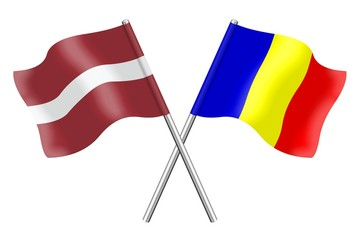 Flags : Latvia and Romania