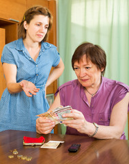 Girl and her aged mother having financial problems