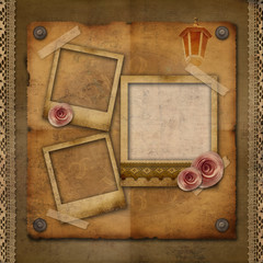 vintage texture background with watch (time), rose, frame
