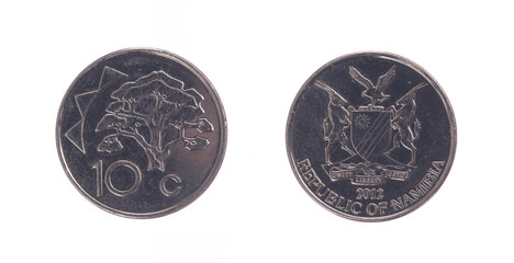 Old 10 dollarcent coin, Namibian currency