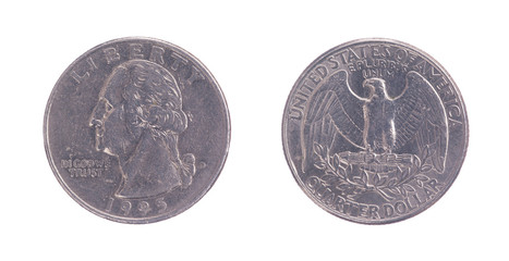 Twenty five American cents on a white background