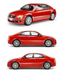 Three Red Sedans in a Row