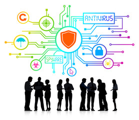Business People with Antivirus and Spyware Concepts