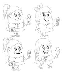 Little girls with ice cream, set, contour