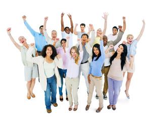 Group of Multi Ethnic Diverse People Celebrating