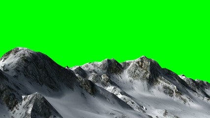 flight over the mountains -  green screen