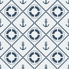 anchors lifebuoy seamless pattern