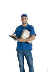 Young handsome courier guy with boxed parcel and clipboard