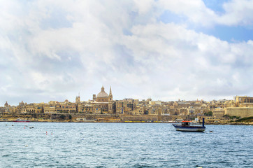 View of Valletta with the St. Pauls Cathedral, Malta.