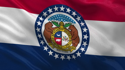 US state flag of Missouri waving in the wind - seamless loop
