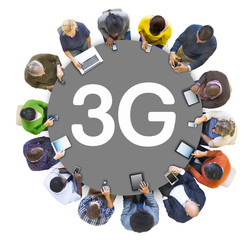 Group of People and 3G Concept