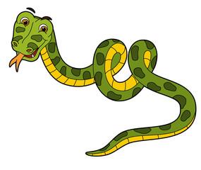 Cartoon animal - snake - flat coloring style