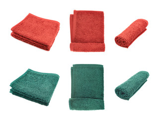 Red and green terry towels isolated