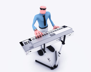 Cartoon Man playing  keyboard