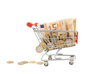 Euro notes and coins in a shopping cart