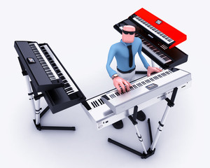 Cartoon Man playing  keyboards