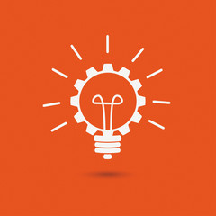 Orange Background Bulb Idea Gear