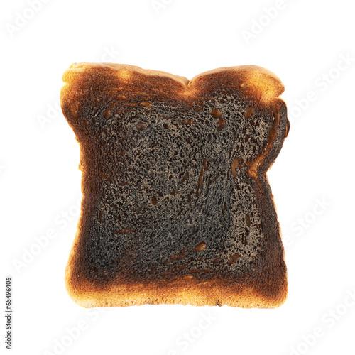Burnt toast bread isolated - 65496406