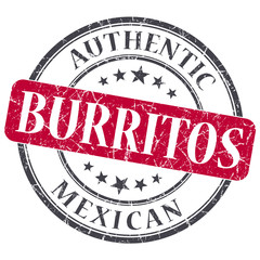 Burritos red round grungy stamp isolated on white background