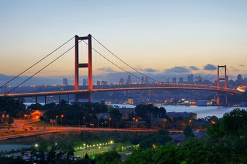 Blue evening of Istanbul with Bosphorus Bridge