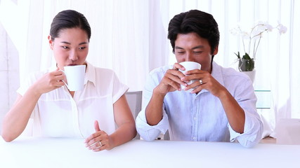 Asian couple spending the morning together