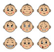 Set children's faces with different emotions