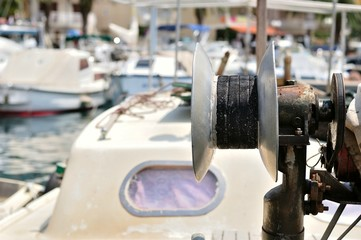 Detail of fishing cable drum on a trawler boat