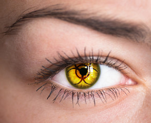 Human eye with biohazard symbol - concept photo.
